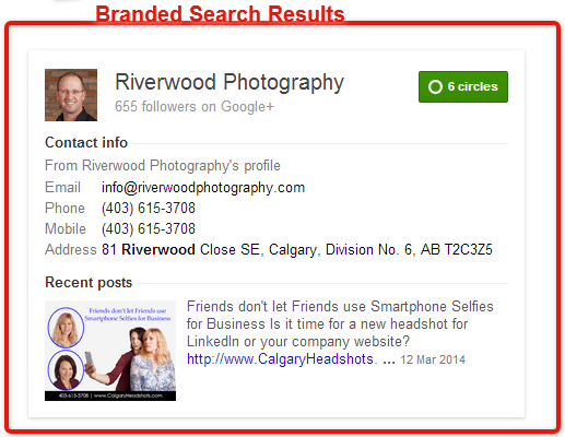 rel=publisher branded search results